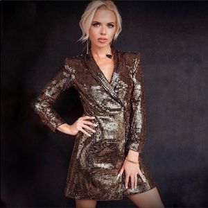 Gold sequin blazer dress by Zara